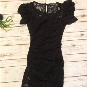 Forever 21 black lace fitted dress size small mini
